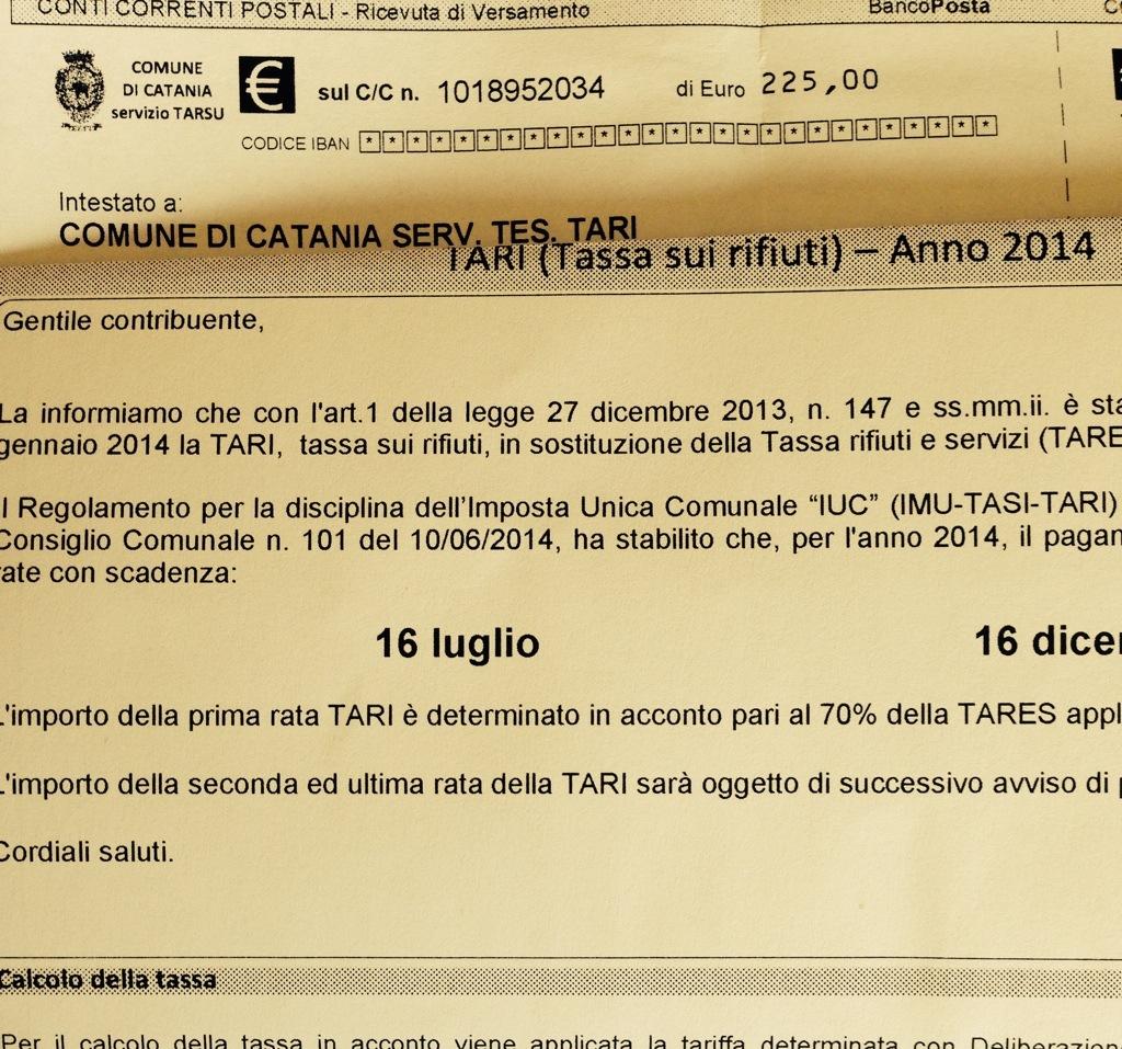 Tari a Catania: due rate per pagare,  slitta al 30 luglio la prima rata