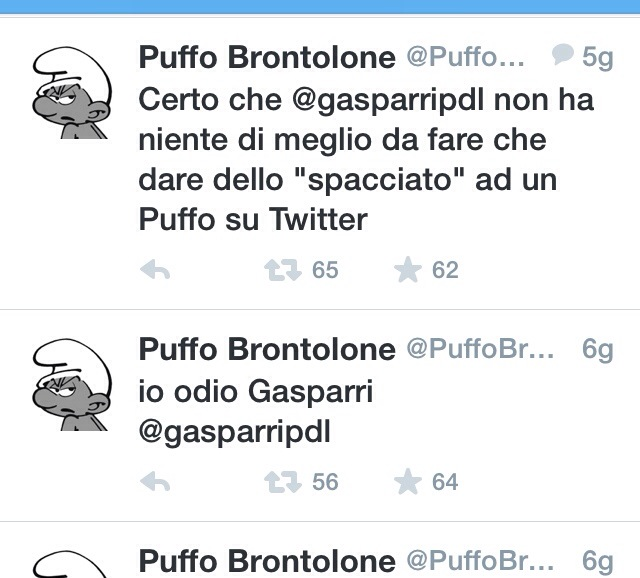 """Gasparri litiga pure con """"Puffo Brontolone"""""""