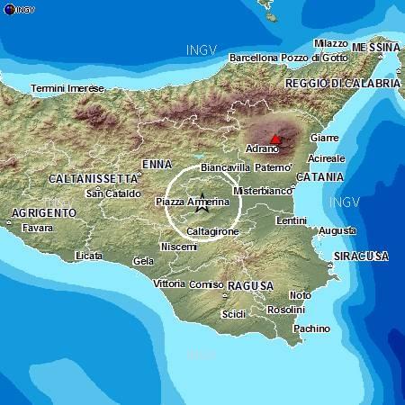 Altra scossa di Magnitudo 2.1 – SICILIA – ENNA