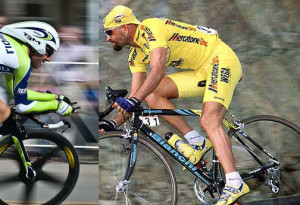 Marco Pantani speeds down a descent during stage one