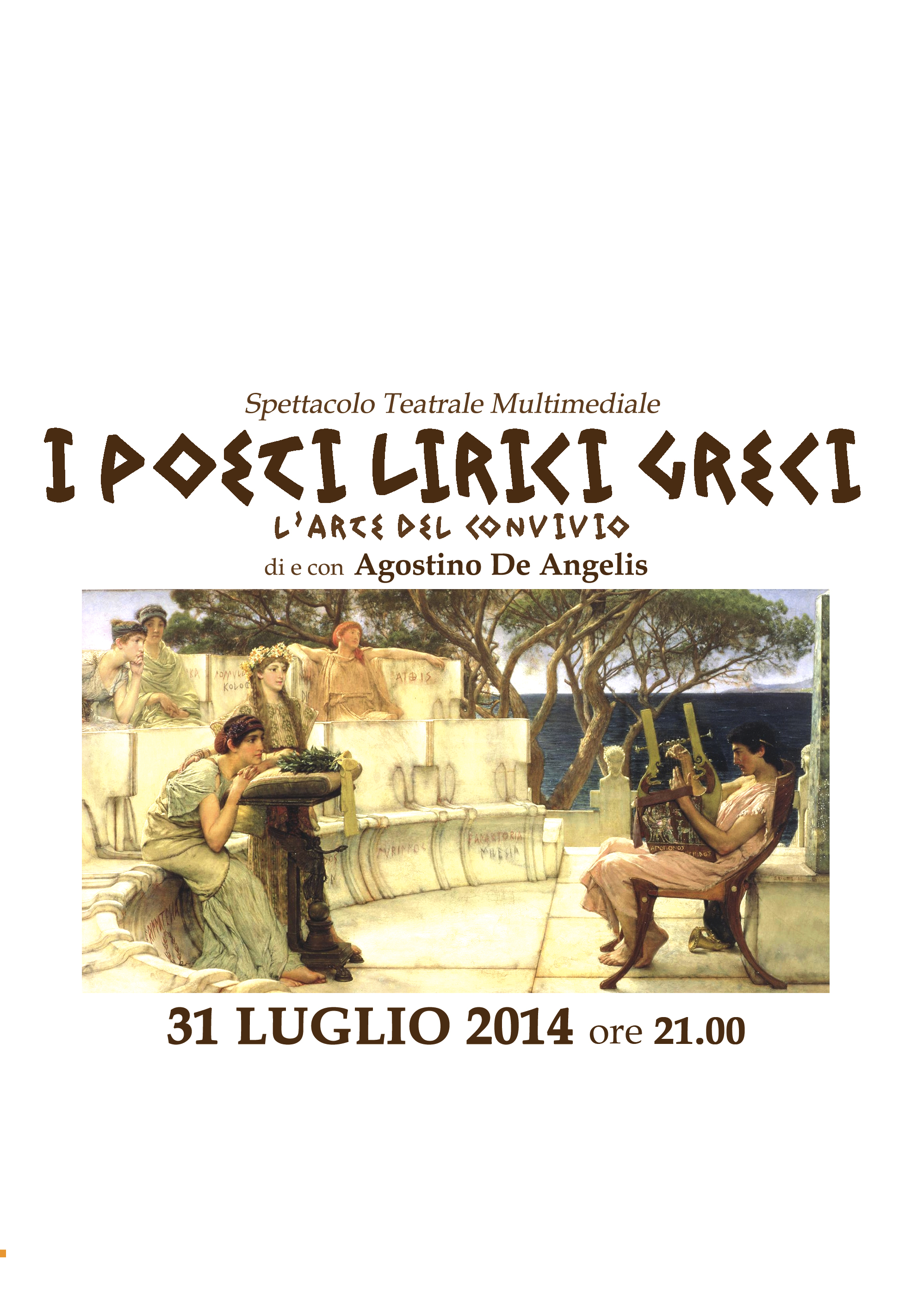 """""""I Poeti Lirici Greci"""" di e con Agostino De Angelis alle Cantine Gulino di Siracusa"""