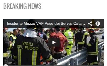 Ribalta mezzo  dei VV.FF. di Catania – E` morto  il Vigile ricoverato – Video