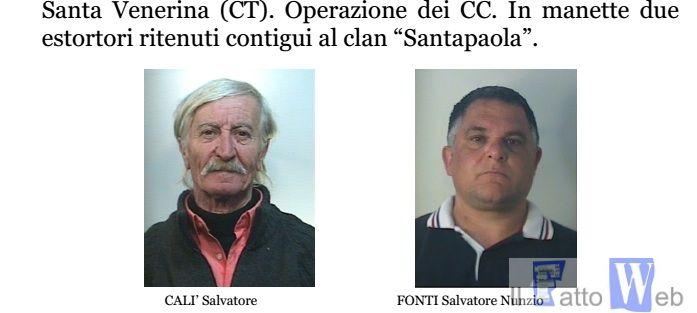 Santa Venerina(Ct) due arresti per estorsione aggravata dal metodo  mafioso