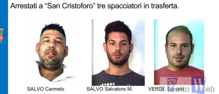 """Arrestati a """"San Cristoforo"""" tre spacciatori in trasferta"""