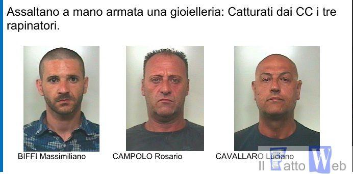 Aci Castello (CT): Assaltano a mano armata una gioielleria: Catturati dai CC i tre rapinatori.