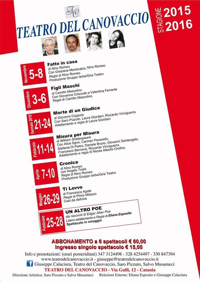 TEATRO DEL CANOVACCIOStagione Teatrale 2015-16