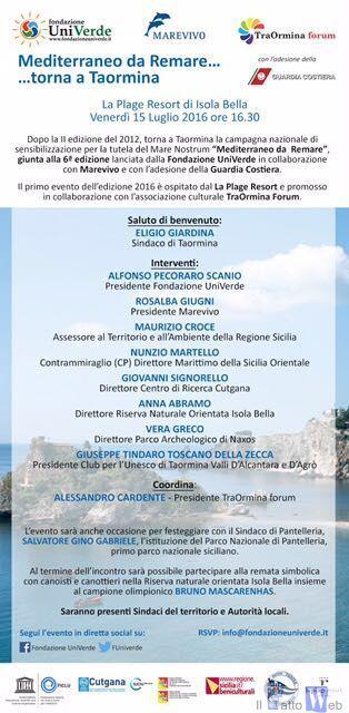"""Torna a Taormina """"Mediterraneo da Remare"""""""