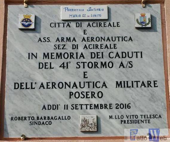 Santuario della Madonna di Loreto svelata la lapide in onore dei caduti del 41° Stormo e dell'Aeronautica Militare