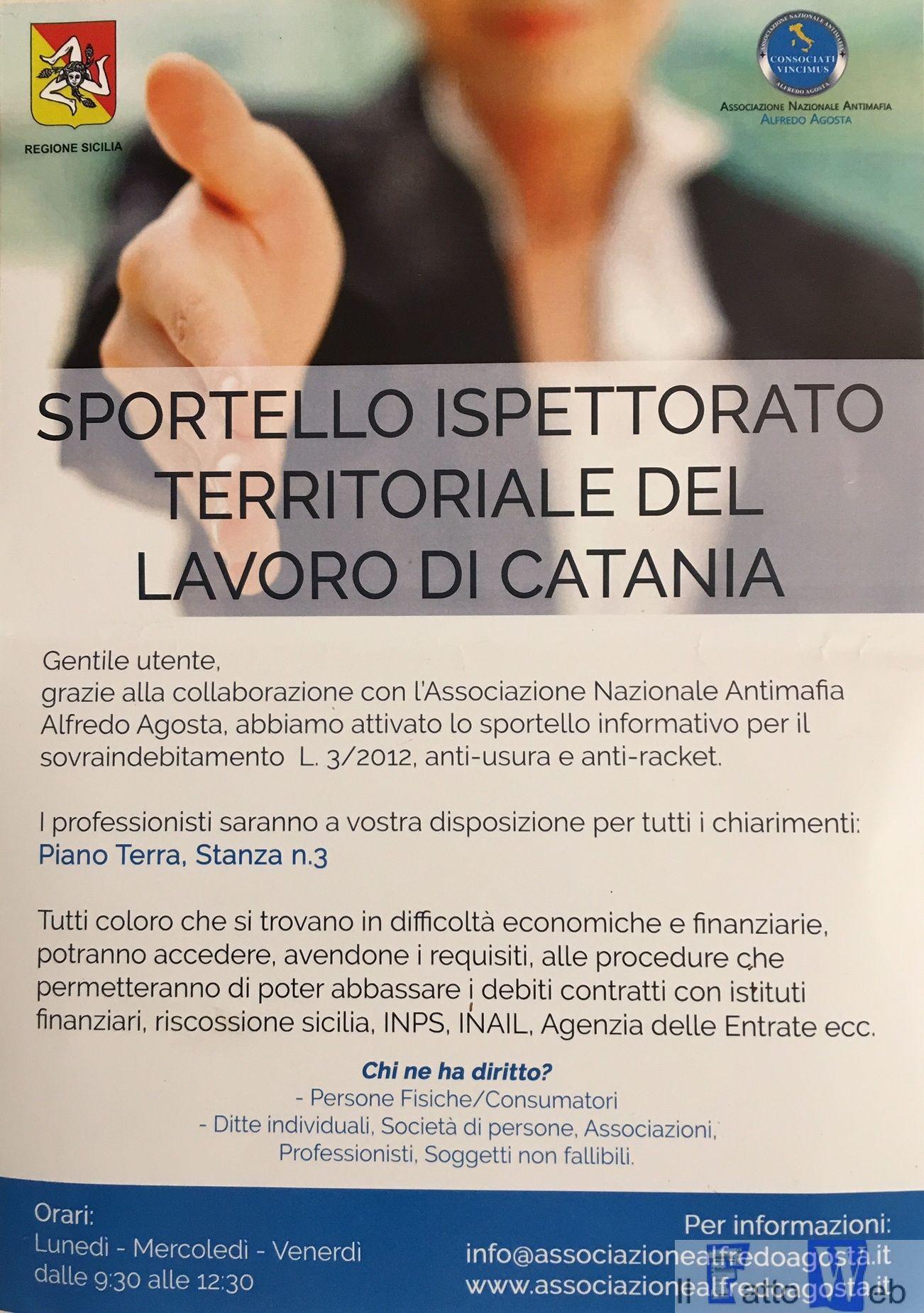 Attivo ogni venerdì lo sportello sul sovraindebitamento gestito dall'associazione Agosta presso l'ispettorato territoriale del lavoro di Catania