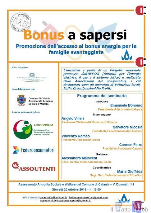 """""""Bonus a sapersi"""", seminario formativo per incentivare l'utilizzo del bonus energia fra le famiglie in difficoltà"""