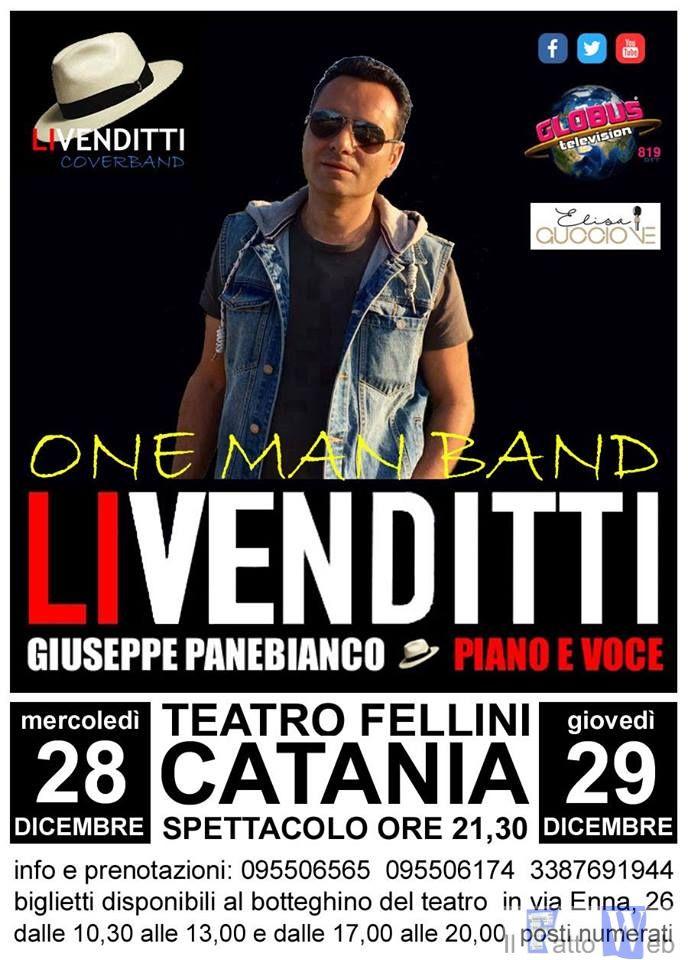 Doppio appuntamento con la musica di Antonello Venditti interpretata da Giuseppe Panebianco