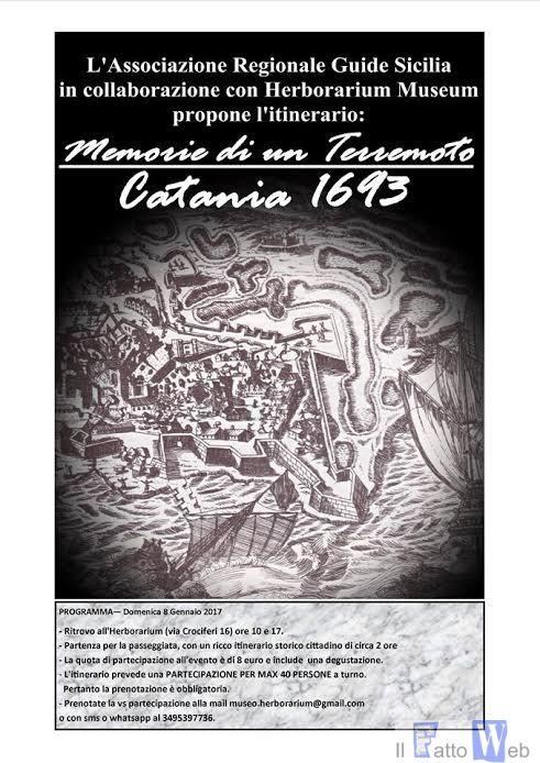 """""""Memorie di un terremoto. Catania 1693"""" un itinerario proposto dall'Associazione Regionale Guide Sicilia"""