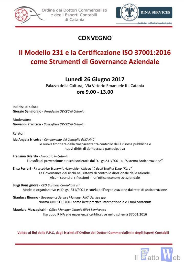 """Anticorruzione: convegno su """"Il Modello 231 e la Certificazione ISO 37001 come strumenti di governance aziendale"""""""