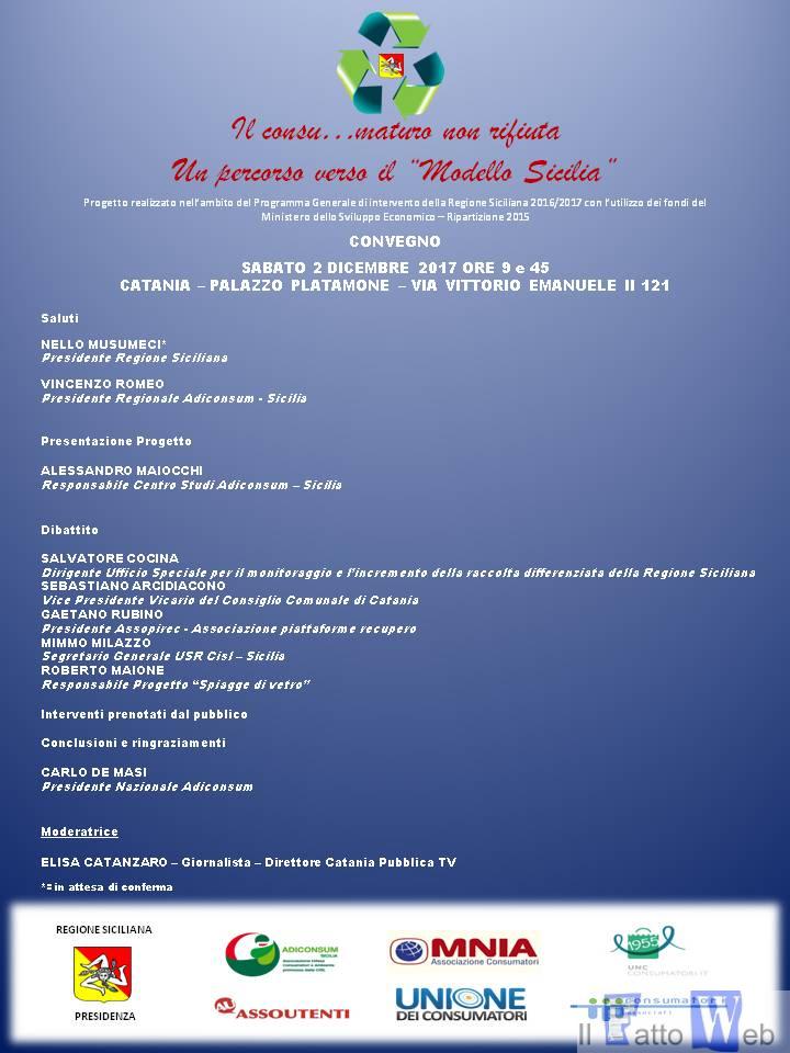"""Il consu…maturo non rifiuta, un percorso verso il """"Modello Sicilia"""": sabato il convegno conclusivo"""