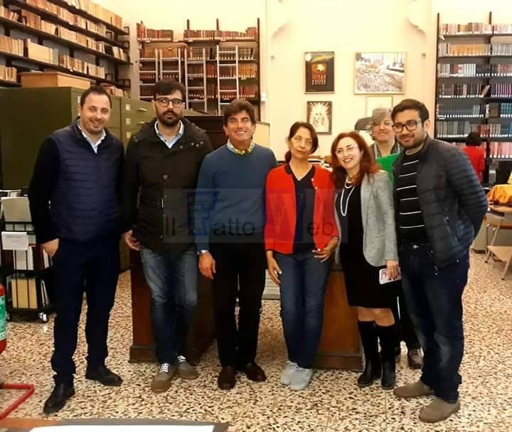 Il sopralluogo nelle biblioteche riunite e Ursino Recupero della Commissione cultura