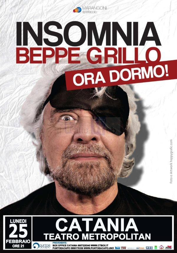 """Al Teatro Metropolitan di Catania torna BEPPE GRILLO con """"Insomnia (Ora dormo!)"""