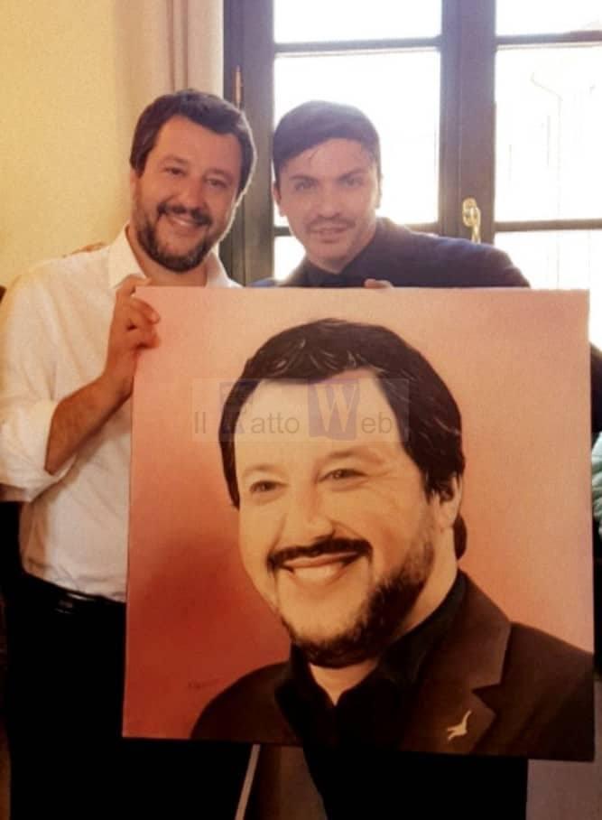 Il catanese Alfonso Restivo,  l'artista più richiesto d'Italia dai personaggi famosi ritrae il ministro Salvini