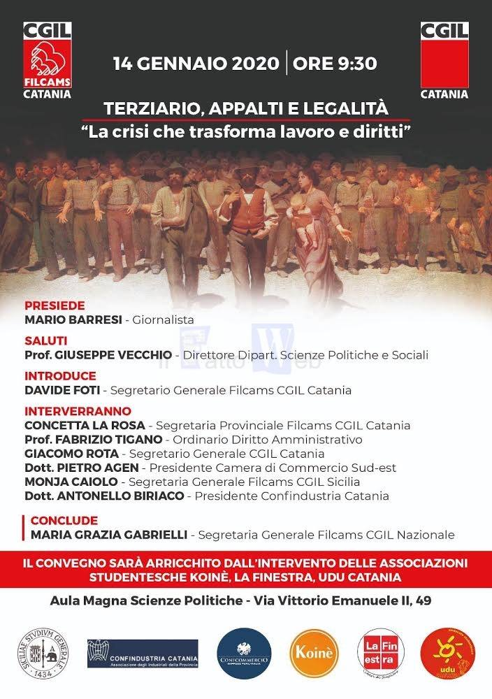 """Filcams Cgil di Catania, convegno su """"Terziario, appalti e legalità: la crisi che trasforma lavoro e diritti"""""""