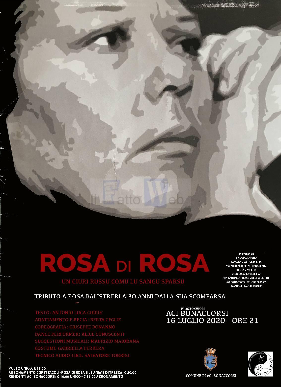 "Aci Bonaccorsi (CT), giovedì 16 al Palazzo Cutore andrà in scena ""Rosa di Rosa"" – Un ciuri russu comu lu sangu sparsu"""