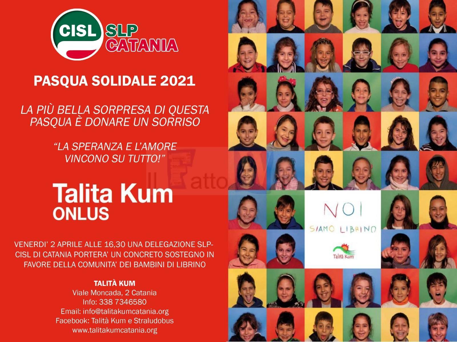Domani iniziativa di solidarietà della CISL Poste di Catania per sostenere l'onlus TALITA KUM di Librino